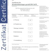 Zertifikat Brandmeldeanlagen